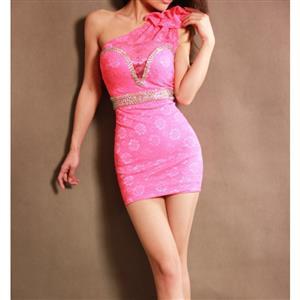 Rhinestone One-Shoulder Dress, One-Shoulder Low Cut Lace Dress, One-Shoulder Lace Dress, #N7518