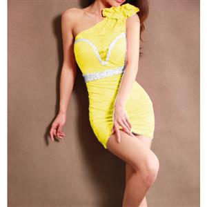 Rhinestone One-Shoulder Yellow Dress, Yellow One-Shoulder Lace Dress, One-Shoulder Lace Dress, #N7588