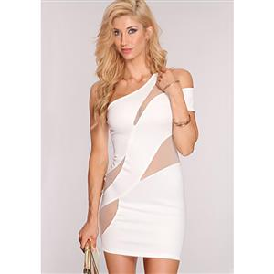 One Shoulder Illusion Club Dress, White Illusion Netting Dress, Mesh Insert Club Dress, #N8344