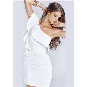 One Shoulder Ruffle Studded Mini Dress, Ruffle Studded Mini Dress, One Shoulder Dress, #N4157
