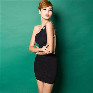One Shoulder Mini Dress, Black Shoulder Dress, Black Bodycon Dress, #N7617
