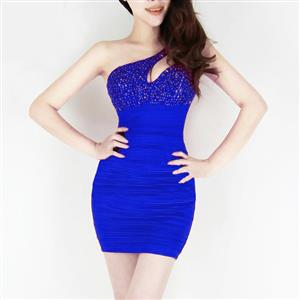 One-Shoulder Rhinestone Dress, Blue Cut Out Sleeveless Dress, One-Shoulder Club Dress, #N7541