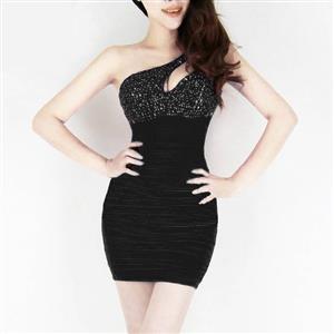 One-Shoulder Sexy Style Dress, Rhinestone Cut Out Sleeveless Dress, Rhinestone Cut Out Dress, #N7545