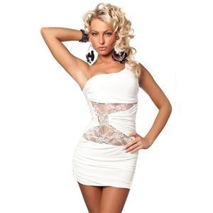 Lace One Shoulder Mini Dress, One Shoulder White Dress, One Shouldered Dress, #N4532