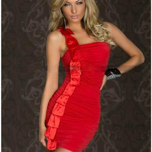 One-shoulder Mini Dress, Red Christmas Dress, Mini Dress With Satin Salmon, Valentine