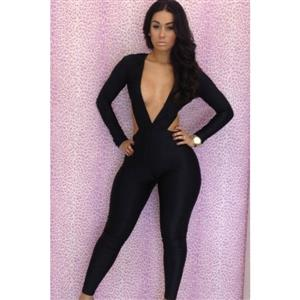 Long Sleeve Open Back Jumpsuit, Hollow Out Catsuit, Deep V Bodycon Jumpsuit, #N6617