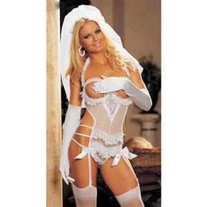 Three Piece Open Bust Bridal Teddy Set, Sexy Open Cup Bridal Teddy Set,  Sexy Bride Costume Lingerie, #N7965