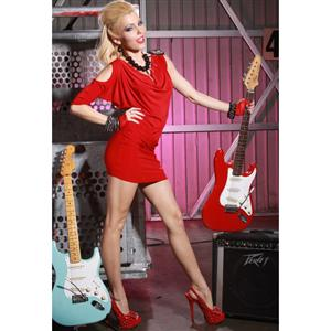 Club Dress, red Dress, One Shoulder Clubwear, #N1757