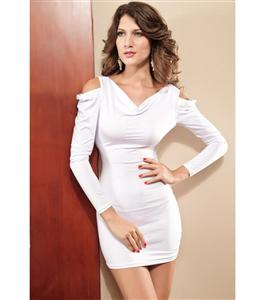 Open Sleeve Mini Dress, White Clubwear Dress, Long Sleeve Dress, #N5645