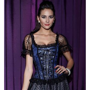 Short Sleeves Lace Up Corset, Floral Brocade Lace Up Corset, Blue Jacquard Organza Sleevees Corset, #N8400