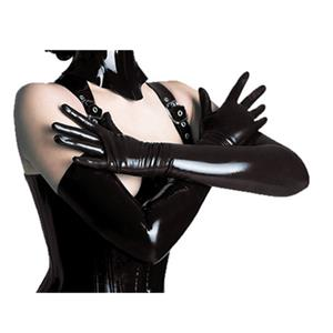 Black Long Wetlook PVC Gloves HG12700