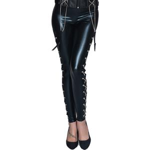 Punk Black PVC Dancing Legging Clubwear N12416