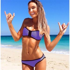 7b4eb6b92e7b8 Padded Bra Zip Bandeau Bikini Set BK8845