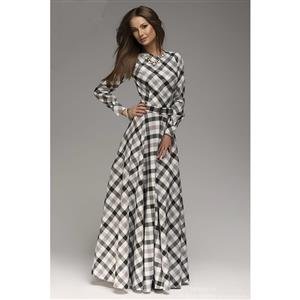 Classic Vintage Paid Long Sleeve Maxi Casual Dresses N11525