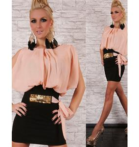 Party Dress with Belt Light Apricot, Evening/Party dress, Apricot Party dress, #N5813