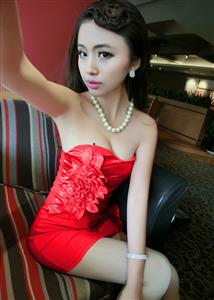 Short Strapless Red Mini Clubwear, Party Flower Dress, Red Strapless Party Dress, #N6931
