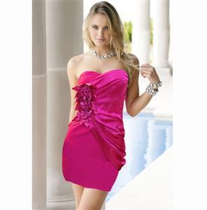 Short Strapless Rose Prom Dress, Party Flower Dress, Strapless Party Club Dress, Sexy Clubwear Wrap Dress, Sexy Starpless Bodycon Dress, #N6887