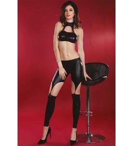 PVC Match Set, Sexy Black PVC Set, Women
