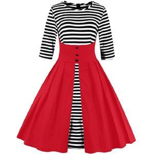 Vintage Stripes Patchwork Half Sleeves Casual Cocktail Party Dress N12144