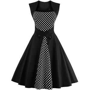 Charming Polka Dot Patchwork Sleeveless Casual Cocktail Party Dress N12125
