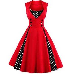 Vintage Rockabilly Polka Dot Print Sleeveless Casual Cocktail Party Dress N12145