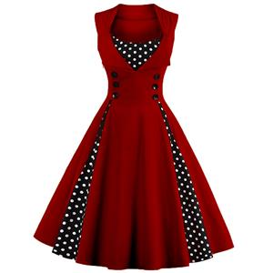 Vintage Rockabilly Polka Dot Print Sleeveless Casual Cocktail Party Dress N12348