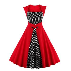 Charming Polka Dot Patchwork Sleeveless Cocktail Party Christmas Dress N12370