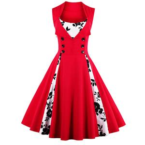 Vintage Rockabilly Floral Print Sleeveless Casual Cocktail Dress N12437