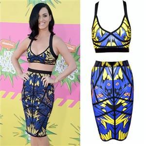 Summer Patterns Bodycon Skirt Set, Owl Print Criss-cross Back Skirt Set, Celebrity Low-cut Sleeveless Party Skirt Set, Sexy Clubwear Crop Top and Wrap Skirt Set, #N8983