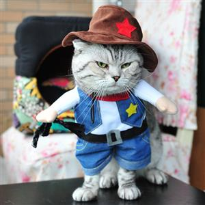 Cowboy Costume for Kitty, Pet Dressing up Party Clothing, Dog