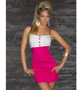Pink and White Sleeveless Patchwork Dress N7789