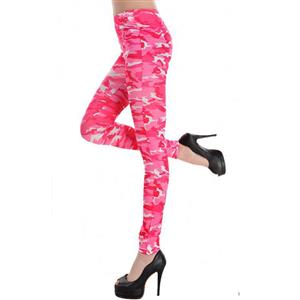 Army Camp Military Jeans, Army Camouflage Leggings, Pink Army Military Jeggings, #L7477