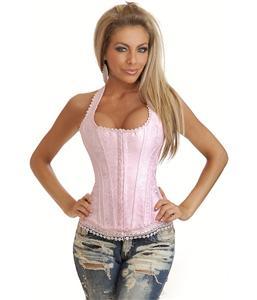 Pink Brocade Full-Back Corset, Pink Brocade Corset, Full-Back Corset, #N4775
