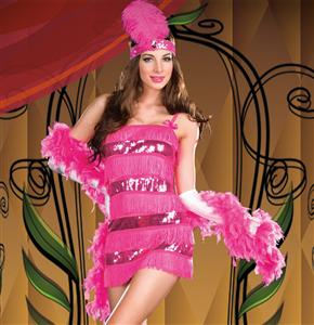 Gatsby Girl Costume, Pink Flapper Costume, Sequin Flapper Costume, #N4245