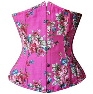 Floral Fantasy Underbust Corset, Pink Floral Corset, Floral Underbust Corset, #N5512