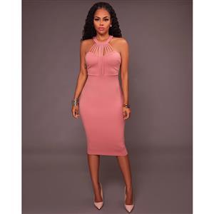 Pink Sleeveless Midi Dress, Halter Neck Bodycon Dress, Pink Women