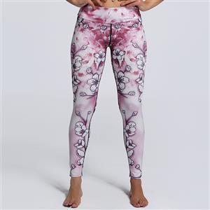 Classical Pink Floral Print Yoga Pants, High Waist Tight Yoga Pants, Fashion Floral Print Fitness Pants, Casual Stretchy Sport Leggings, Women