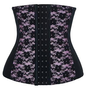 9 Steels Fashion Pink Lace Waist Cincher Plus Size Bustier Corset N10519