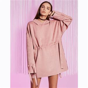 Pink Long Sleeve Dress, Fashion Loose Dress, Pink Hooded Dress, Mini Pullover Tops, Casual Pink Mini Dress, Pink Pullover Dress, Adjustable Dress, #N15717