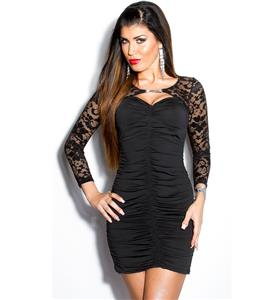 Black dress with lace bolero, stretch lace sleeves dress, Women Black Dress, #N6881