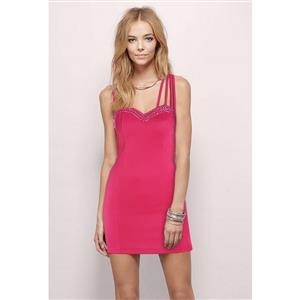 Hot-Pink Mini Dress for Women, Sexy Bodycon Dress for Cheap, Cocktail Party Dresses, Short Club Wear Dress, Casual Dress, #N11168