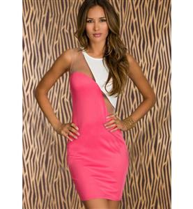 Sleeveless See-through Dress, Pink Split Joint White Package Hip Dress, Sexy Clubwear Dress, #N9361