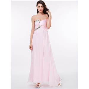 Sleeveless Evening Dress, Evening Party Pink Dress, Pink Strapless Formal Dress, Chiffon Pink Evening Dress for Women, Evening Dress for Women, Beaded Evening Dresses, #N15665
