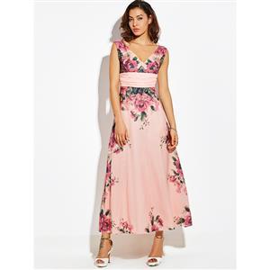 Sleeveless Maxi Dress, V Neck Maxi Dress, Pink Floral Print Maxi Dress, Floral Print Maxi Dress, Fashion Maxi Dress for Women, Pink Sleeveless Maxi Dress, Empire Waist Maxi Dress, #N15791