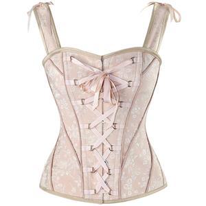 Pink Lace Up Vest Corset, Sexy Corset Vest for Women, Steel Boned Corset, #N12426