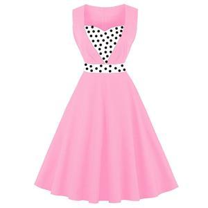 Sleeveless Vintage Dress, Sweetheart Neckline Swing Dress, Plus Size Vintage Dress, 1950s Vintage Dress for Women, Pink Patchwork Vintage Dress, Plus Size Vintage Dress Pink, #N15738