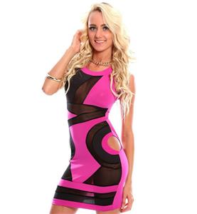 Fashion Bodycon Dress, Cheap Pink and Black Mini Dress, Lady Short Dress, Hot Selling Mini Dress, #N10117