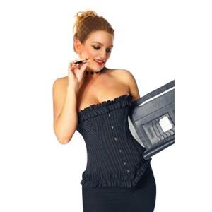 Pinstripe Secretary corset, Secretary corset, Pinstripe corset with ruffled edges, Sexy Strapless Corset, Elegant Pinstripe Overbust Corset, #N5162