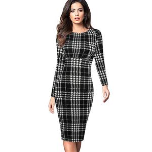 Round Neck Long Sleeve Bodycon Dress, Black Plaid Bodycon Midi Dress, Plaid High Waist Bodycon Dress, Long Sleeve Plaid Midi Dress, Long Sleeve Plaid Bodycon Dress, Casual Plaid Bodycon Midi Dress, #N16400