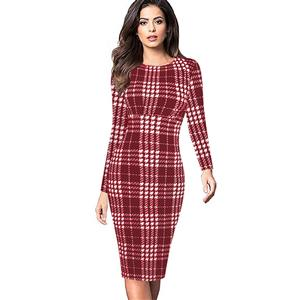 Round Neck Long Sleeve Bodycon Dress, Red Plaid Bodycon Midi Dress, Plaid High Waist Bodycon Dress, Long Sleeve Plaid Midi Dress, Long Sleeve Plaid Bodycon Dress, Casual Plaid Bodycon Midi Dress, #N16401